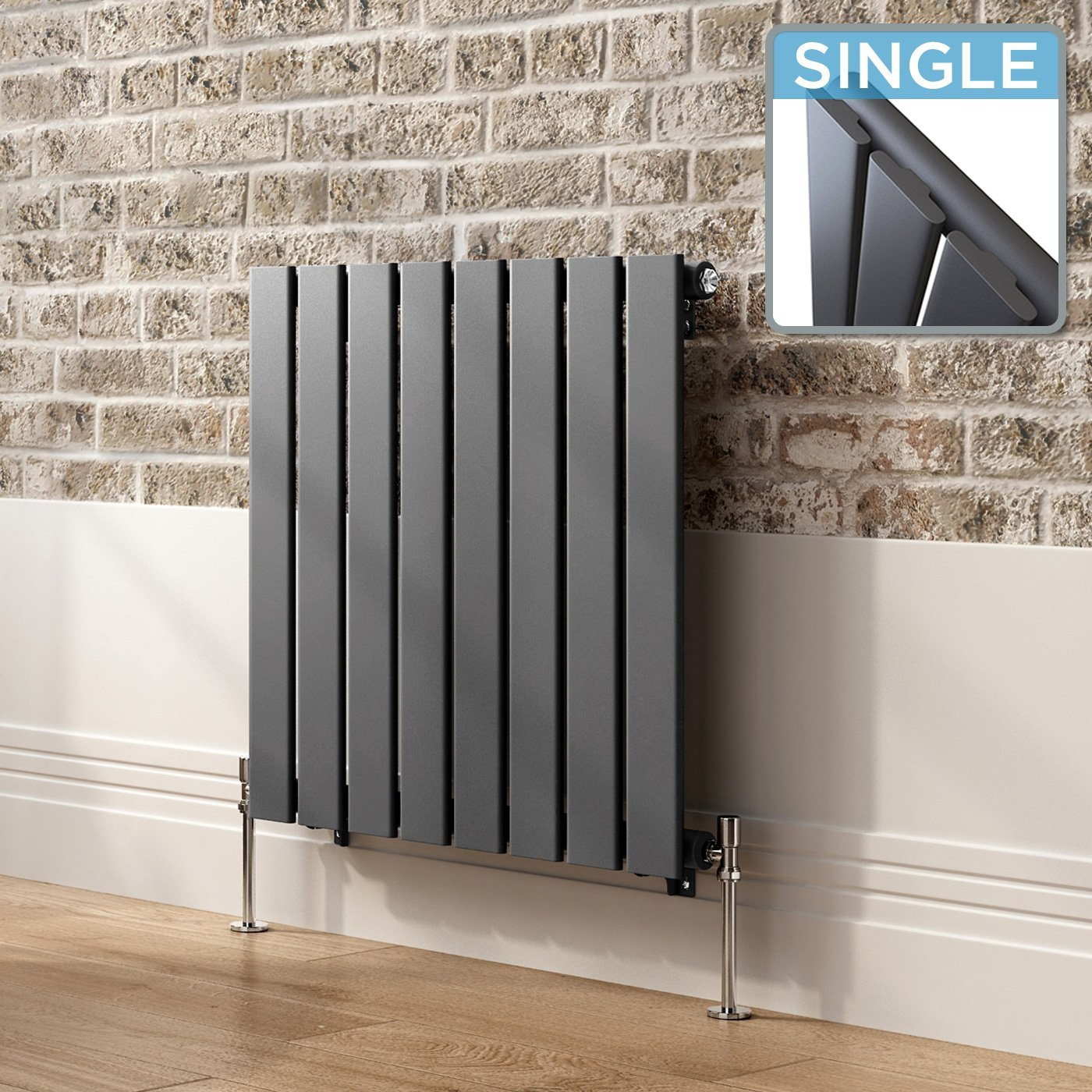 600x600 Anthracite Flat Panel Modern Designer Horizontal Radiator